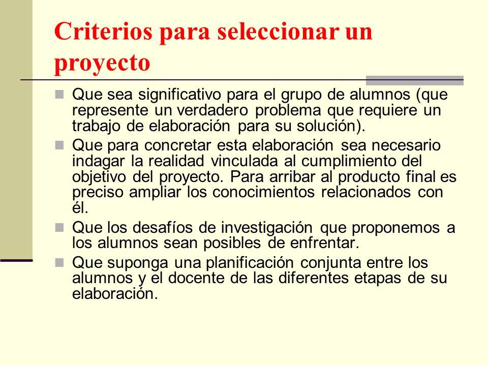 Criterios para seleccionar un proyecto