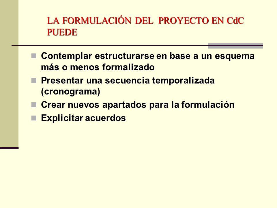 LA FORMULACIÓN DEL PROYECTO EN CdC PUEDE
