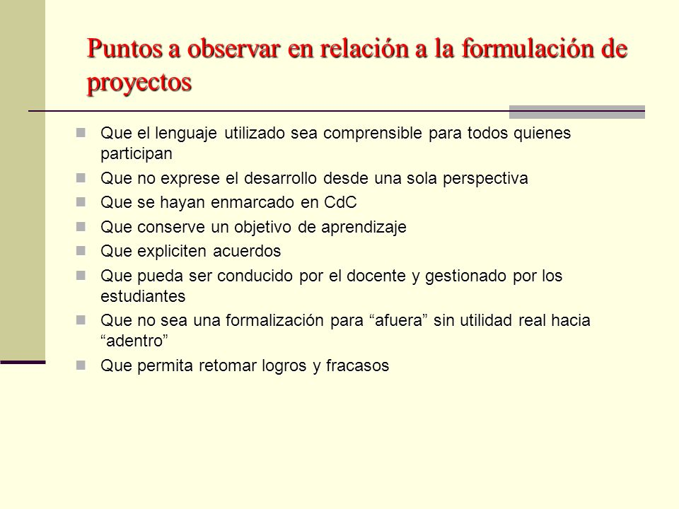 Puntos a observar en relación a la formulación de proyectos