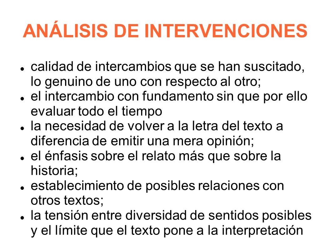 ANÁLISIS DE INTERVENCIONES
