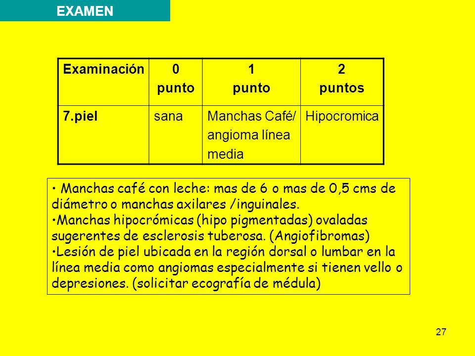 EXAMEN Examinación. punto. 1. 2. puntos. 7.piel. sana. Manchas Café/ angioma línea. media.