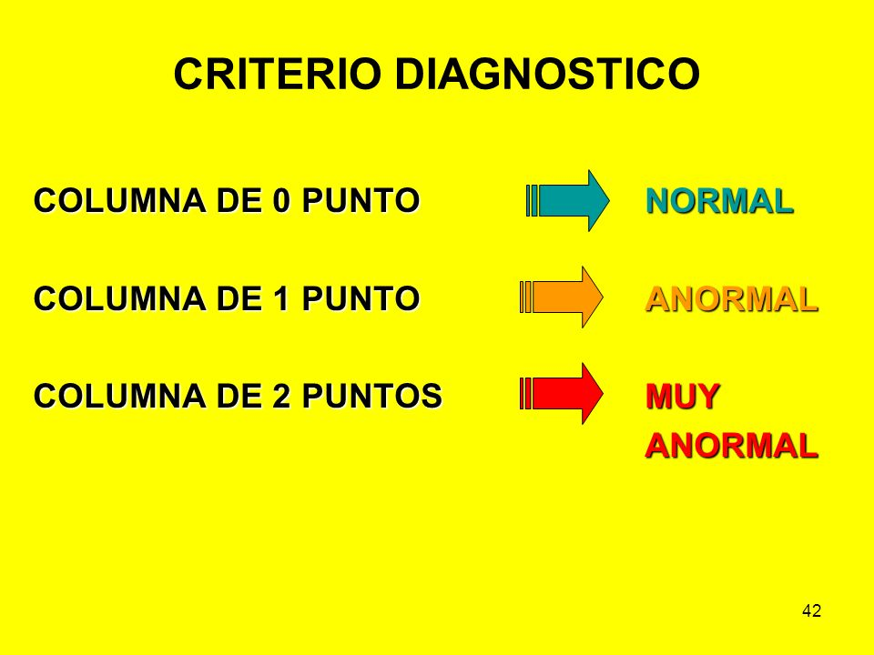 CRITERIO DIAGNOSTICO COLUMNA DE 0 PUNTO NORMAL