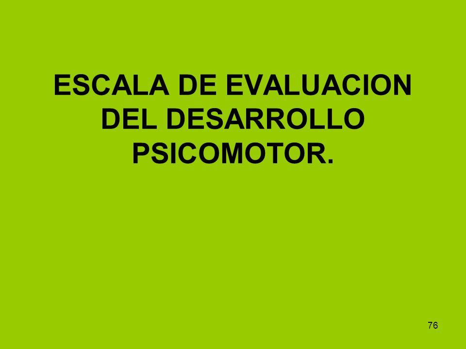 ESCALA DE EVALUACION DEL DESARROLLO PSICOMOTOR.