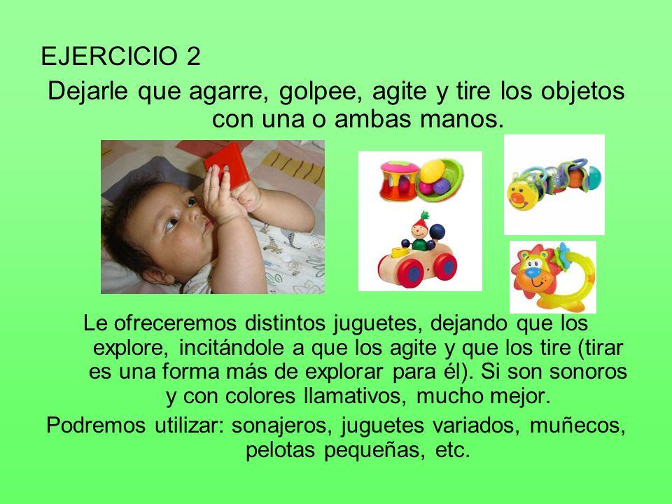 EJERCICIO 2 Dejarle que agarre, golpee, agite y tire los objetos con una o ambas manos.