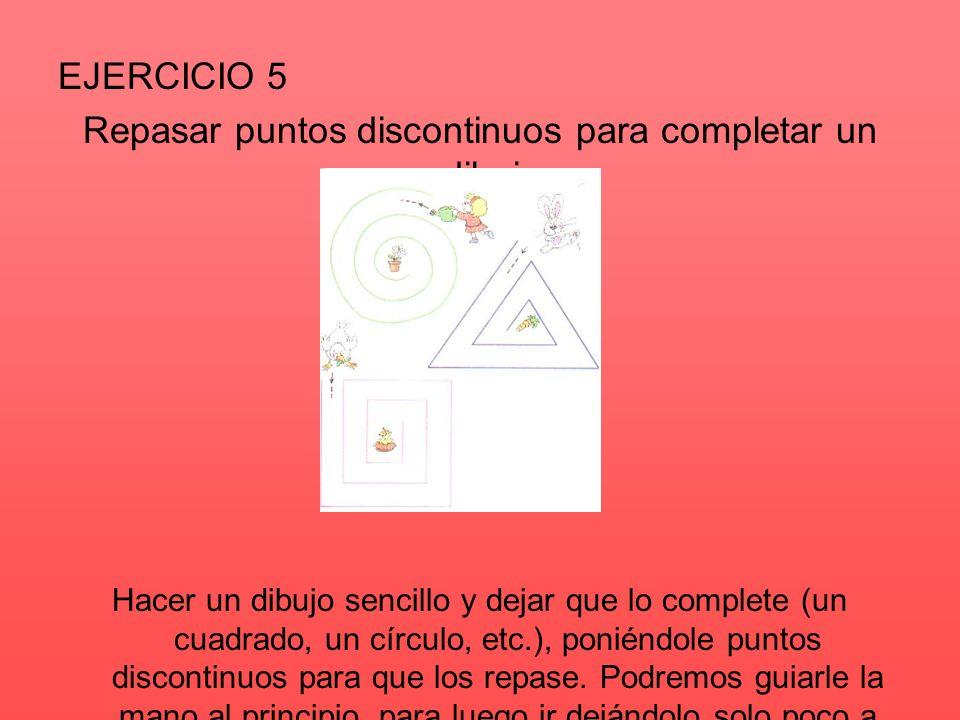 Repasar puntos discontinuos para completar un dibujo.