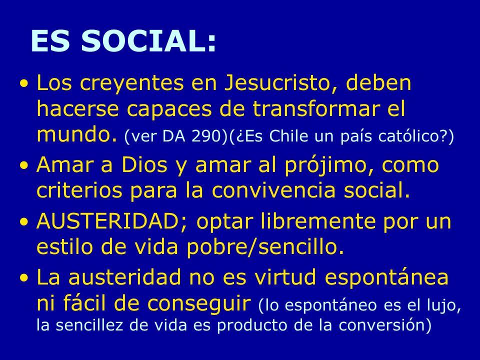 ES SOCIAL: Los creyentes en Jesucristo, deben hacerse capaces de transformar el mundo. (ver DA 290)(¿Es Chile un país católico )