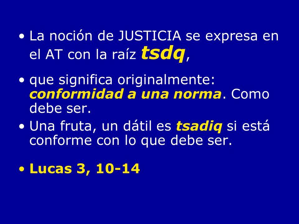La noción de JUSTICIA se expresa en el AT con la raíz tsdq,