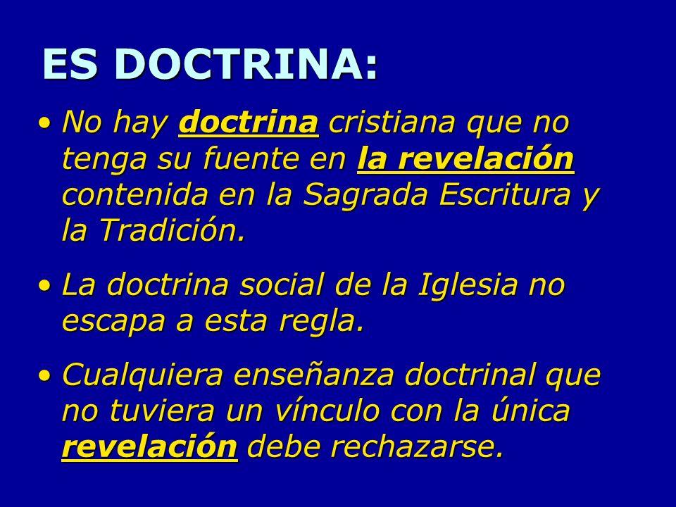 ES DOCTRINA: No hay doctrina cristiana que no tenga su fuente en la revelación contenida en la Sagrada Escritura y la Tradición.