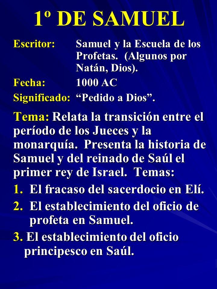 1º DE SAMUEL Escritor: Samuel y la Escuela de los Profetas. (Algunos por Natán, Dios). Fecha: 1000 AC.