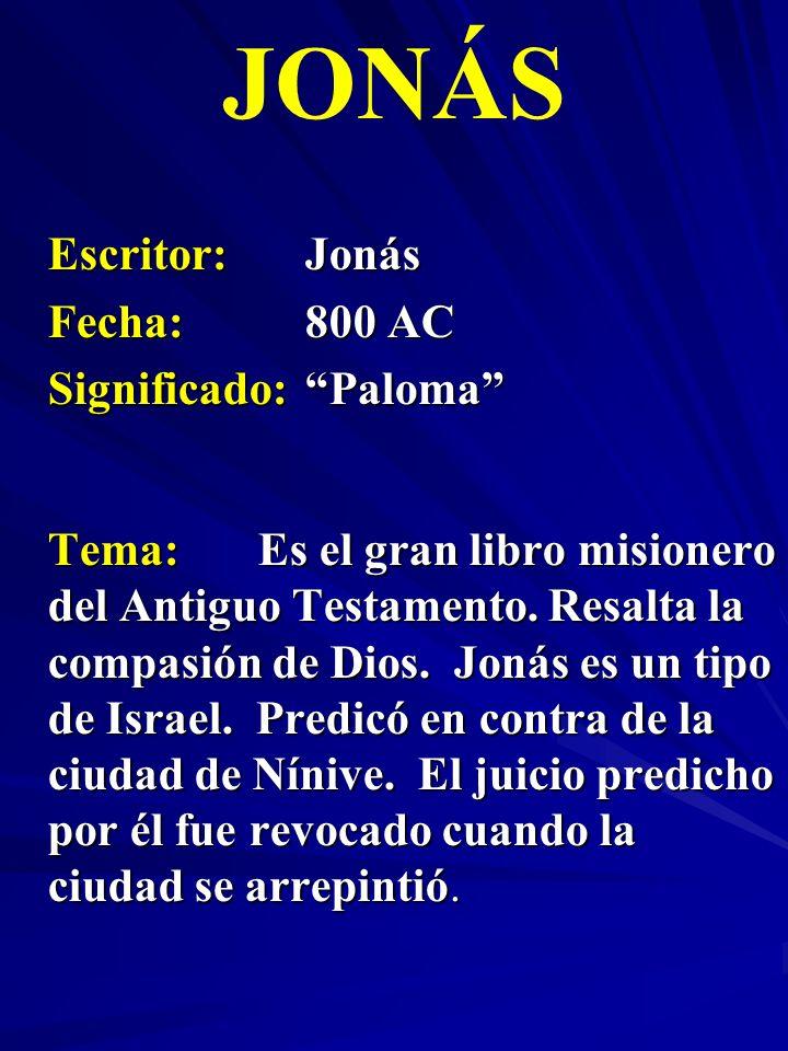 JONÁS Escritor: Jonás Fecha: 800 AC Significado: Paloma