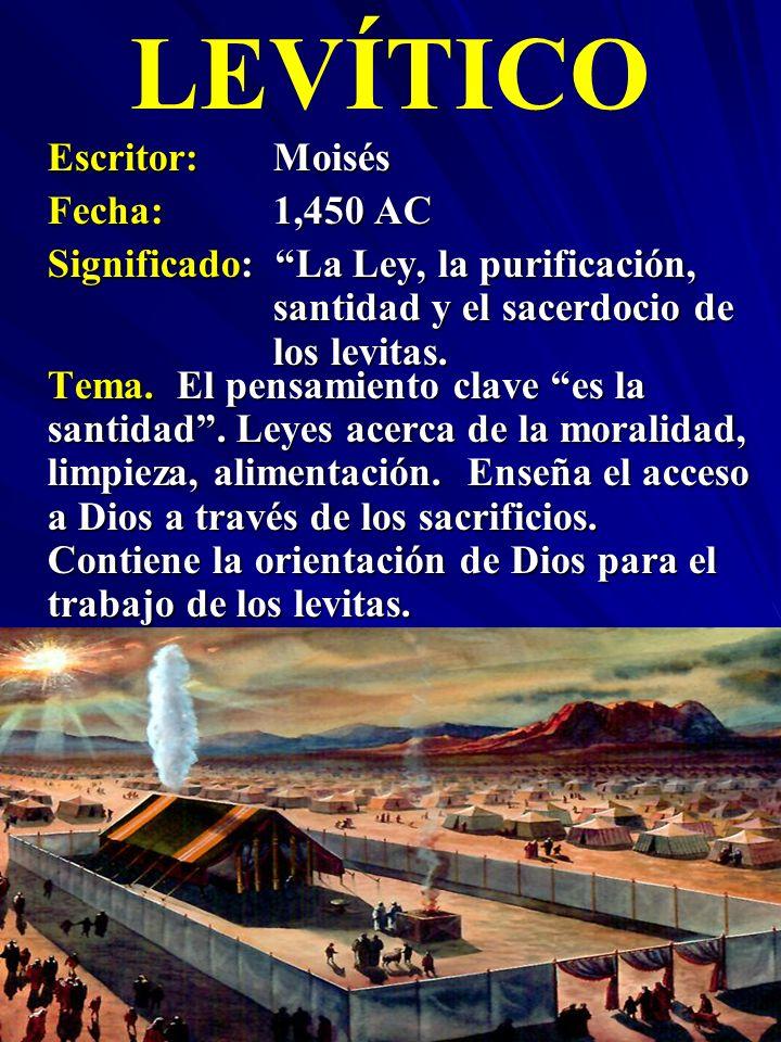 LEVÍTICO Escritor: Moisés Fecha: 1,450 AC