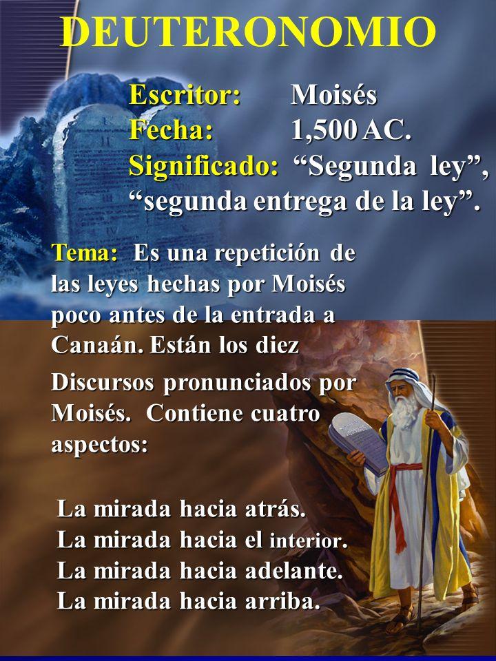 DEUTERONOMIO Escritor: Moisés Fecha: 1,500 AC.