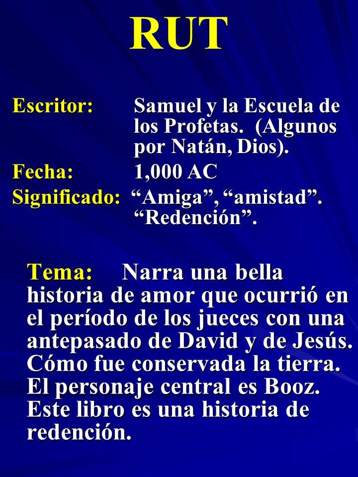 RUT Escritor: Samuel y la Escuela de los Profetas. (Algunos por Natán, Dios). Fecha: 1,000 AC. Significado: Amiga , amistad . Redención .