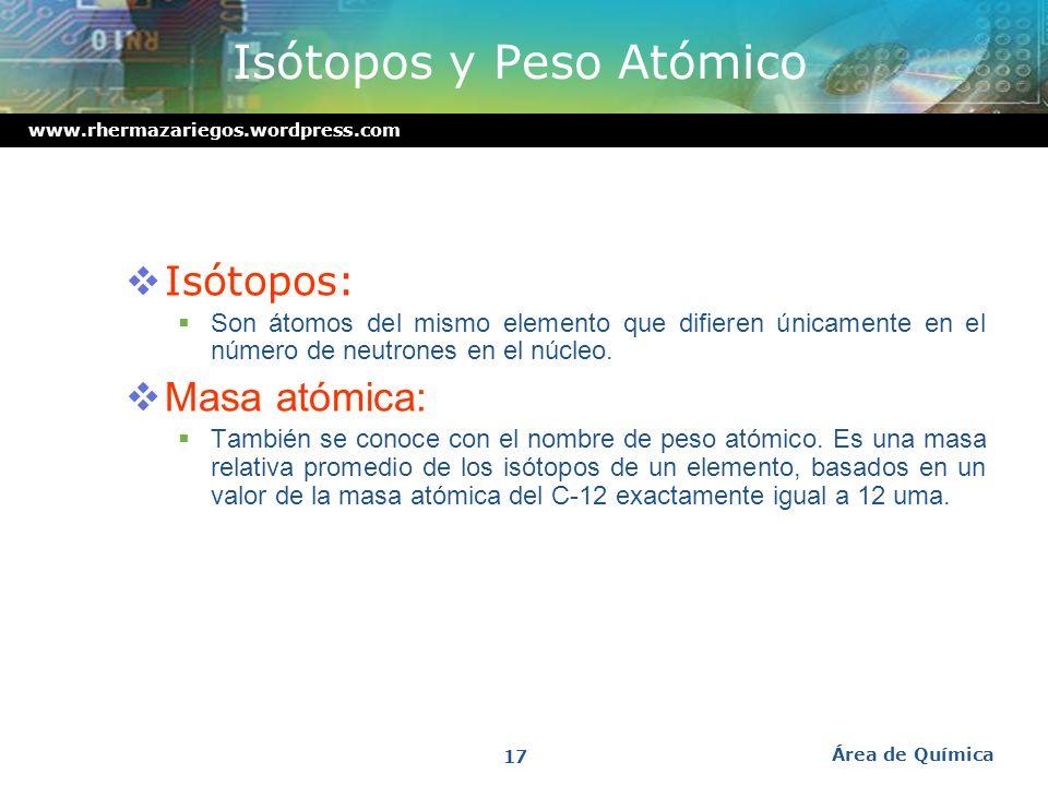 Isótopos y Peso Atómico