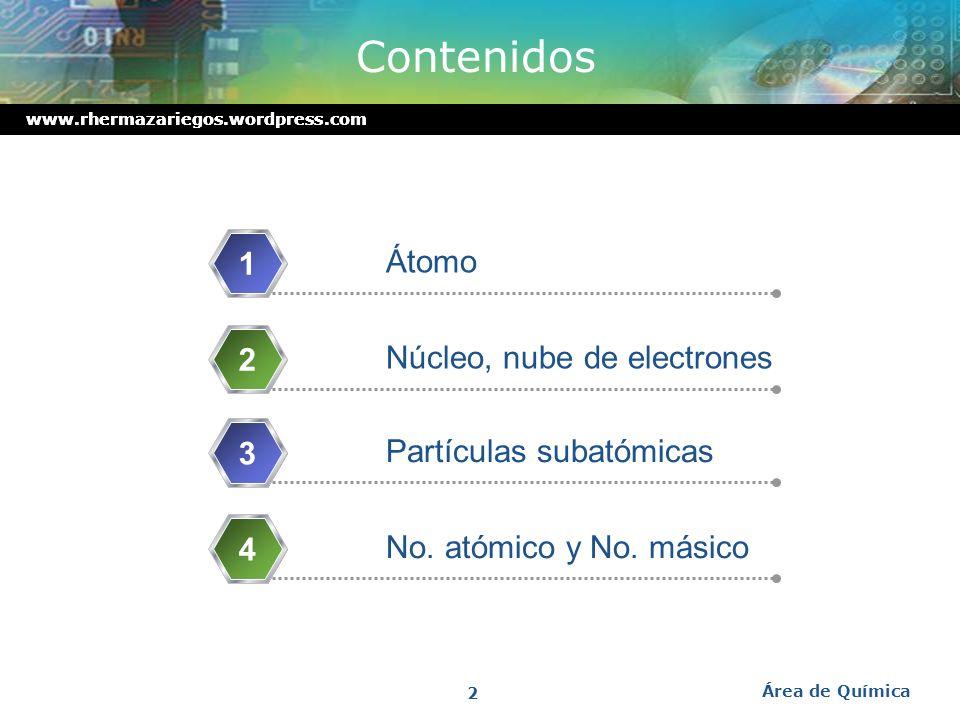 Contenidos 1 Átomo 2 Núcleo, nube de electrones 3