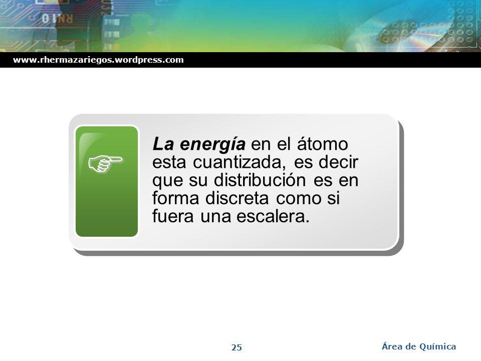  La energía en el átomo esta cuantizada, es decir que su distribución es en forma discreta como si fuera una escalera.