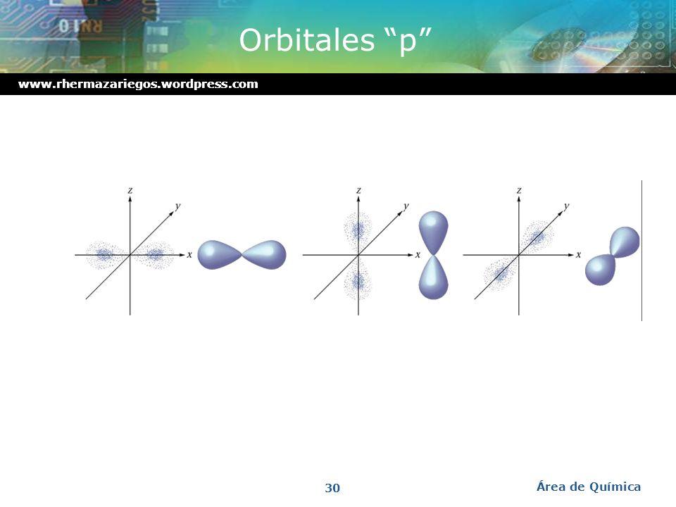 Orbitales p www.rhermazariegos.wordpress.com Área de Química