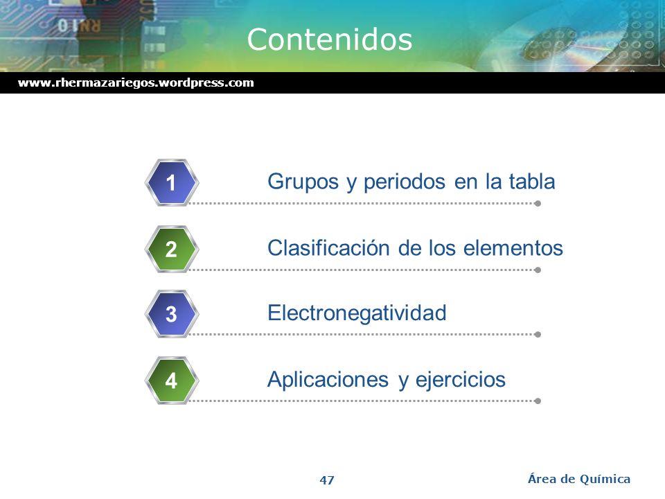 Contenidos 1 Grupos y periodos en la tabla 2