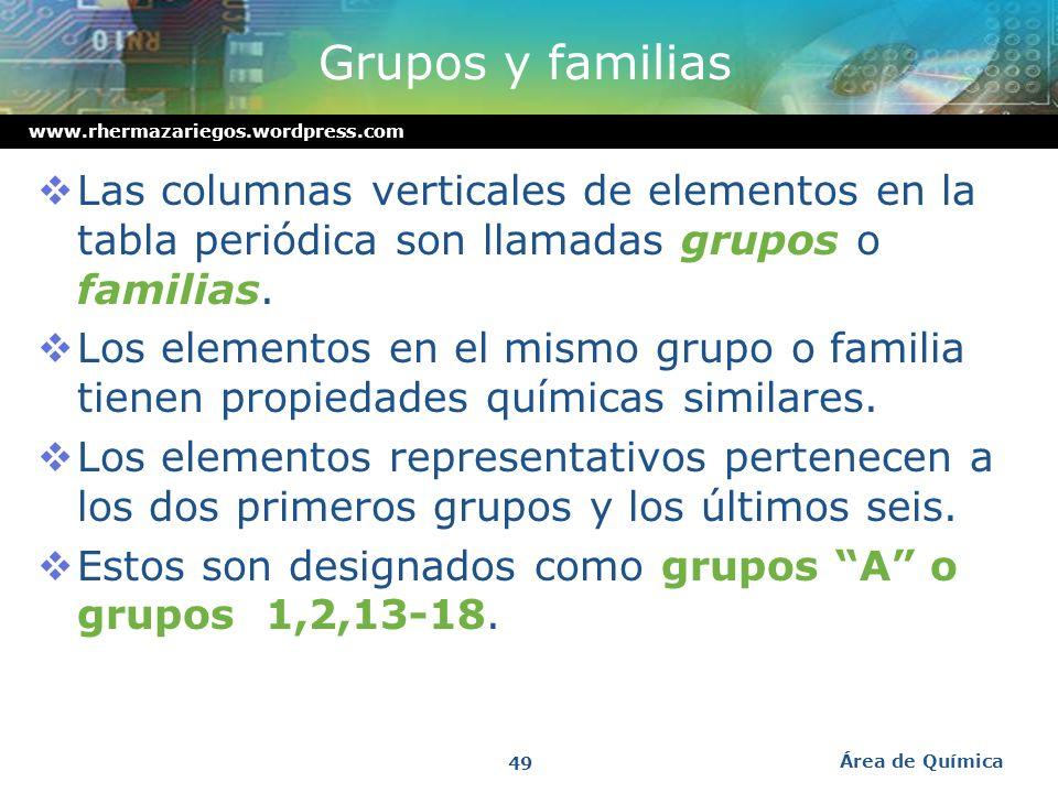 Grupos y familias Las columnas verticales de elementos en la tabla periódica son llamadas grupos o familias.