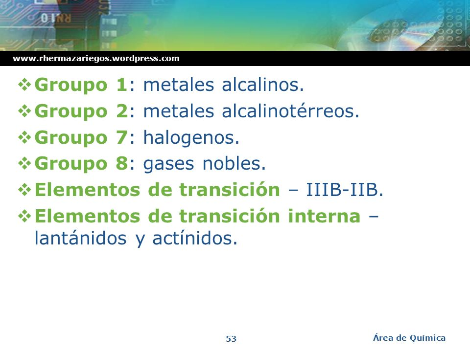 Groupo 1: metales alcalinos. Groupo 2: metales alcalinotérreos.