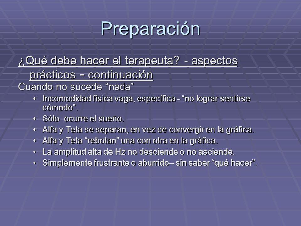 Preparación ¿Qué debe hacer el terapeuta - aspectos prácticos - continuación. Cuando no sucede nada