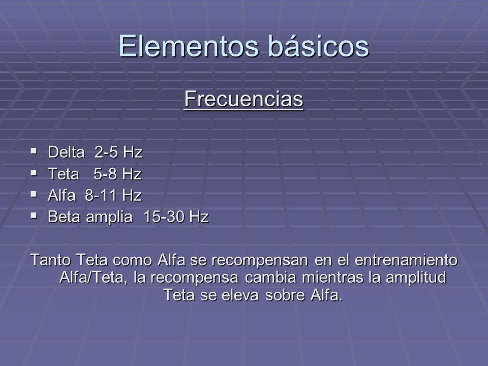 Elementos básicos Frecuencias Delta 2-5 Hz Teta 5-8 Hz Alfa 8-11 Hz