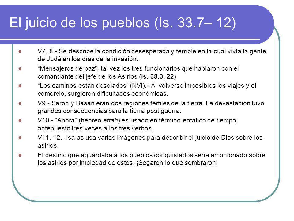 El juicio de los pueblos (Is. 33.7– 12)