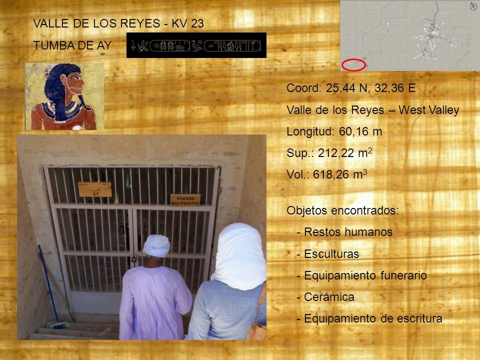 VALLE DE LOS REYES - KV 23 TUMBA DE AY. Coord: 25,44 N, 32,36 E. Valle de los Reyes – West Valley.