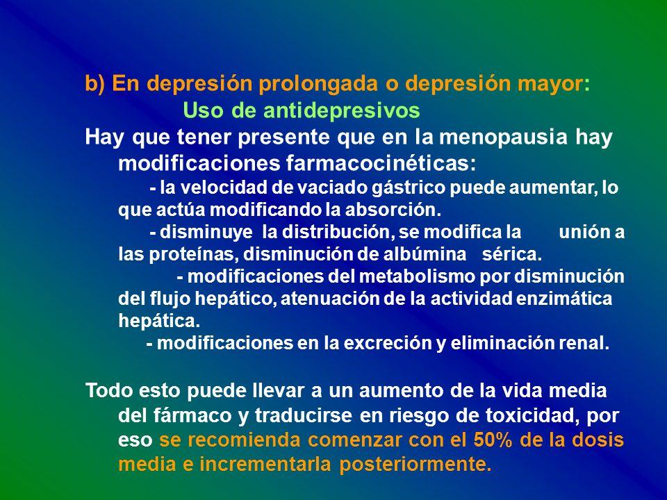 b) En depresión prolongada o depresión mayor: Uso de antidepresivos