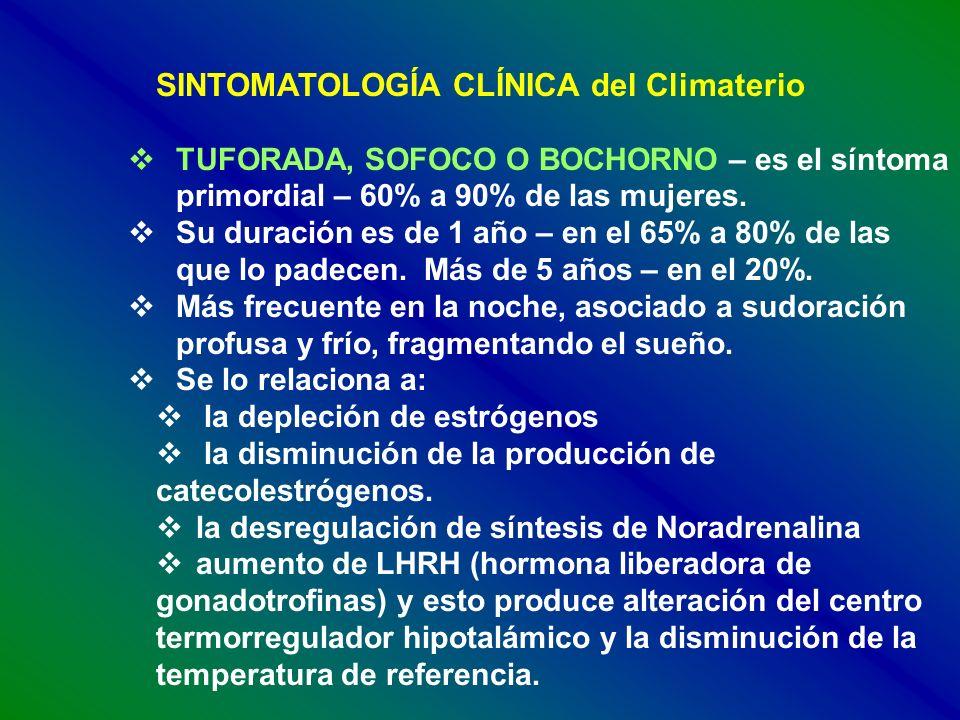 SINTOMATOLOGÍA CLÍNICA del Climaterio