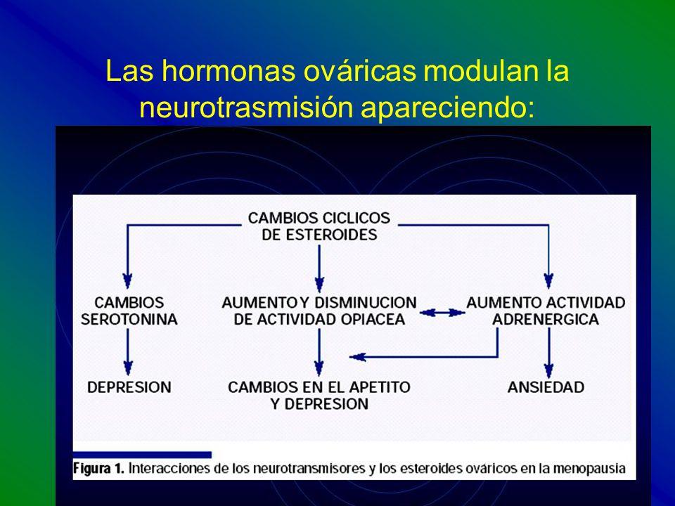 Las hormonas ováricas modulan la neurotrasmisión apareciendo: