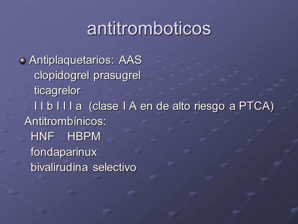 antitromboticos Antiplaquetarios: AAS clopidogrel prasugrel ticagrelor