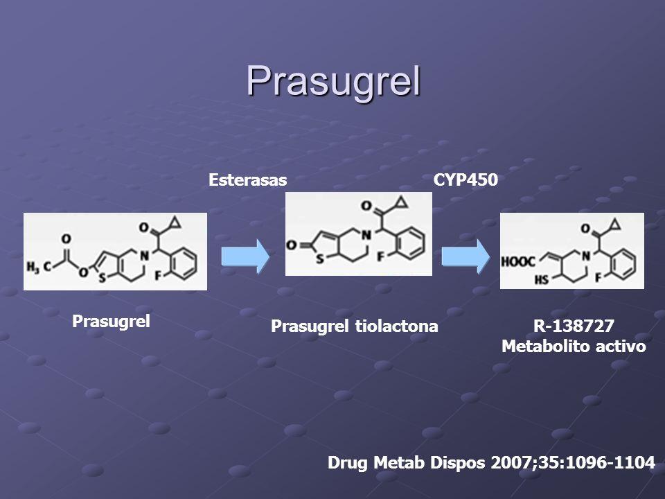 Prasugrel Esterasas CYP450 Prasugrel Prasugrel tiolactona R-138727