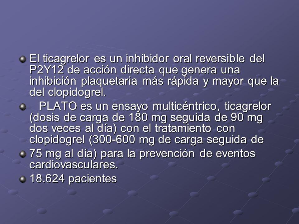 El ticagrelor es un inhibidor oral reversible del P2Y12 de acción directa que genera una inhibición plaquetaria más rápida y mayor que la del clopidogrel.