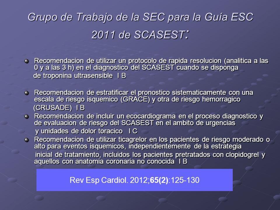 Grupo de Trabajo de la SEC para la Guía ESC 2011 de SCASEST: