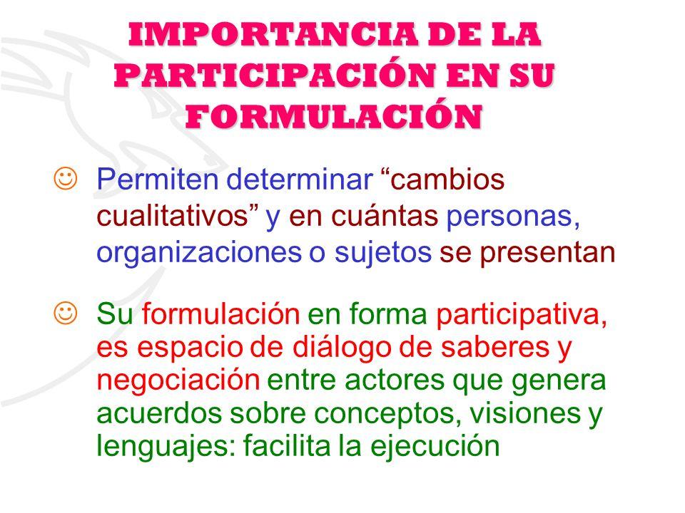 IMPORTANCIA DE LA PARTICIPACIÓN EN SU FORMULACIÓN