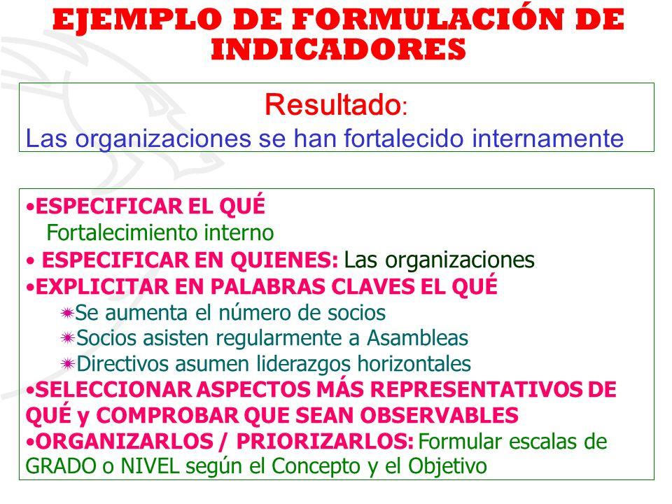 EJEMPLO DE FORMULACIÓN DE INDICADORES