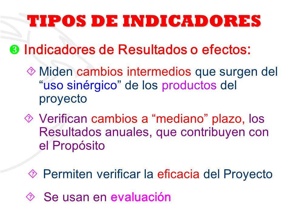 TIPOS DE INDICADORES Indicadores de Resultados o efectos: