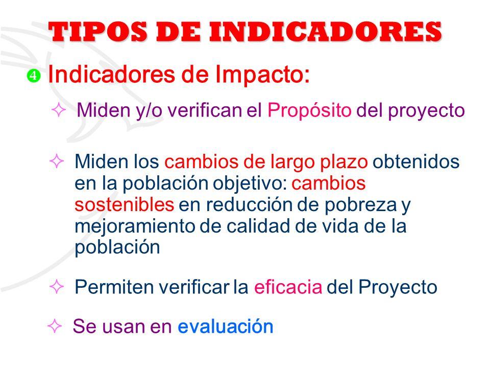 TIPOS DE INDICADORES Miden y/o verifican el Propósito del proyecto