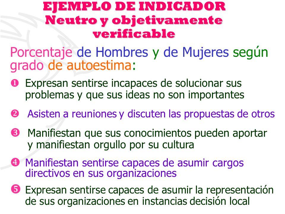 EJEMPLO DE INDICADOR Neutro y objetivamente verificable
