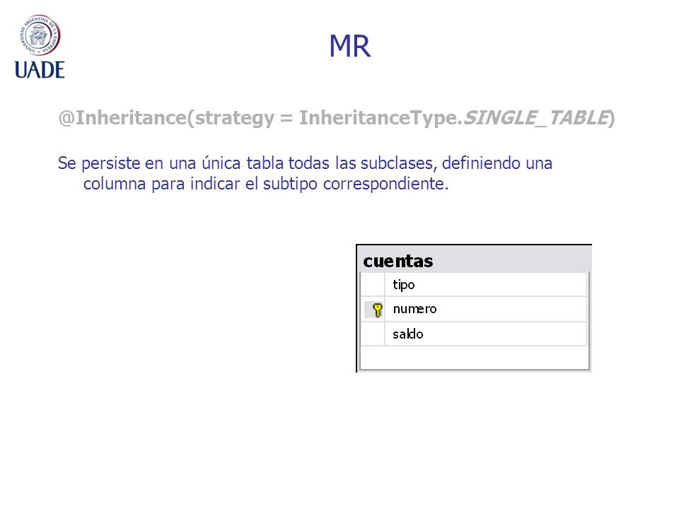 MR @Inheritance(strategy = InheritanceType.SINGLE_TABLE)