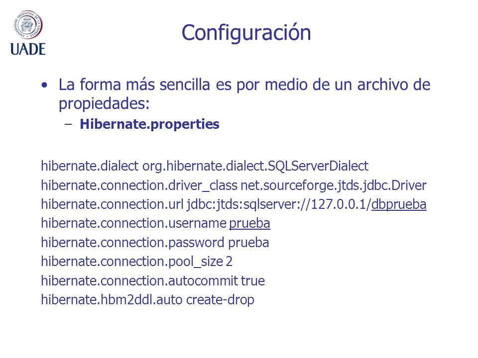 Configuración La forma más sencilla es por medio de un archivo de propiedades: Hibernate.properties.