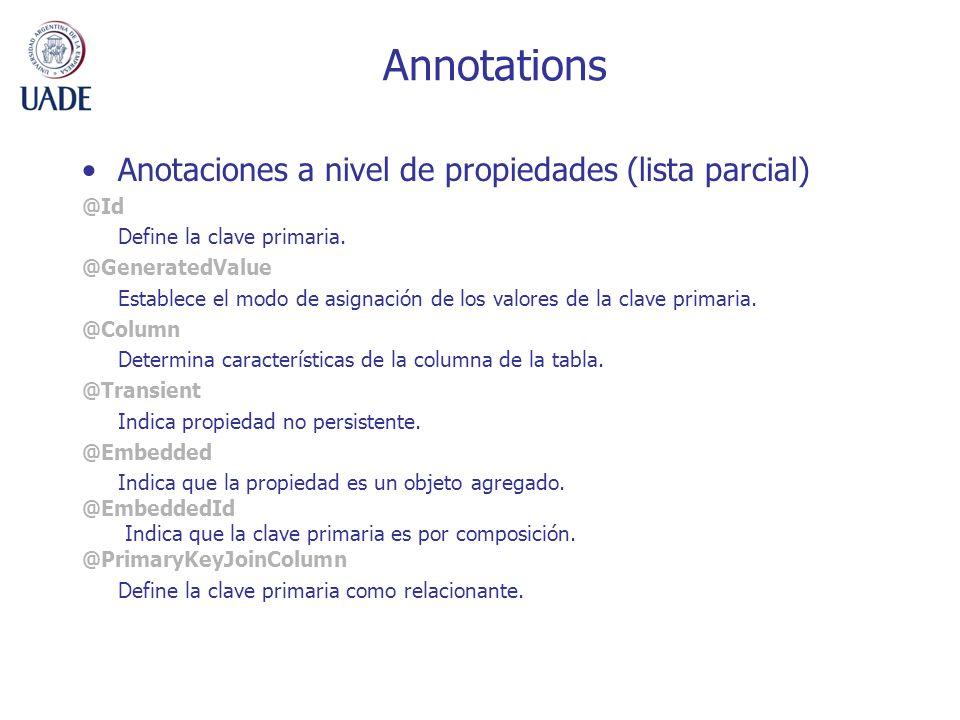 Annotations Anotaciones a nivel de propiedades (lista parcial) @Id