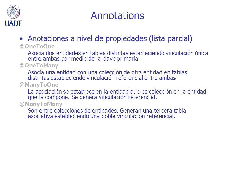 Annotations Anotaciones a nivel de propiedades (lista parcial)