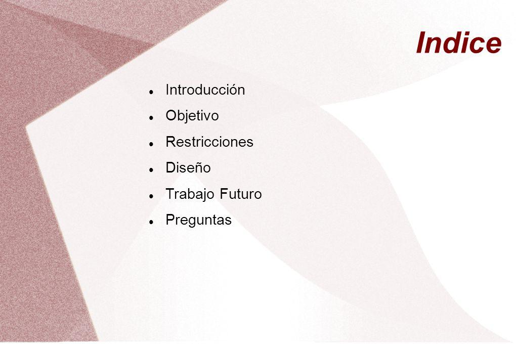 Indice Introducción Objetivo Restricciones Diseño Trabajo Futuro