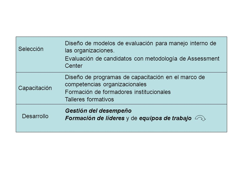 Diseño de modelos de evaluación para manejo interno de las organizaciones.