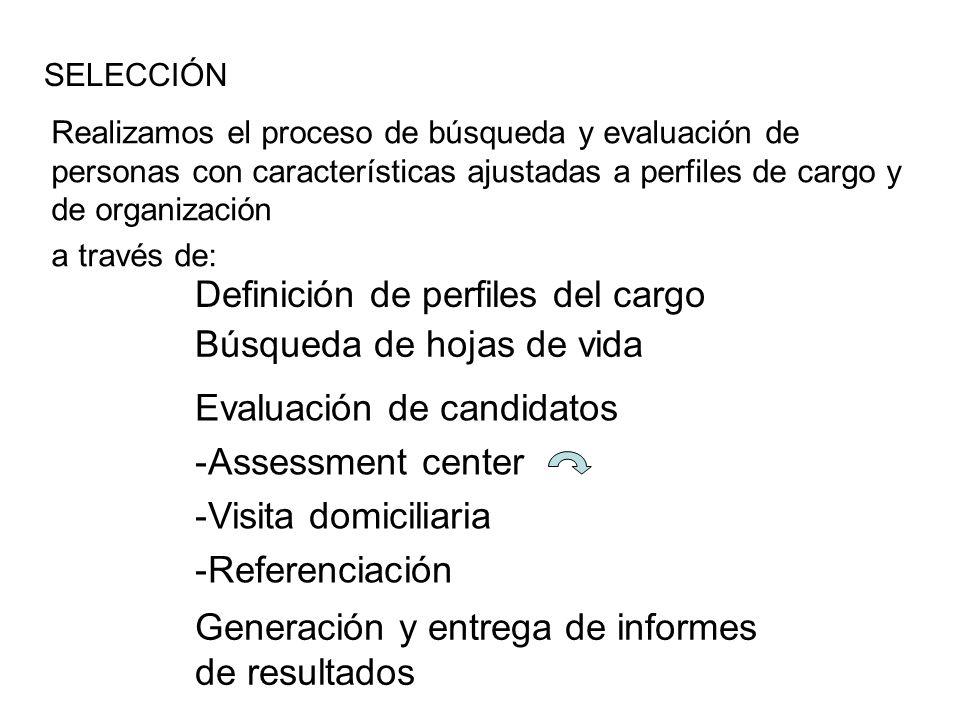 Definición de perfiles del cargo Búsqueda de hojas de vida