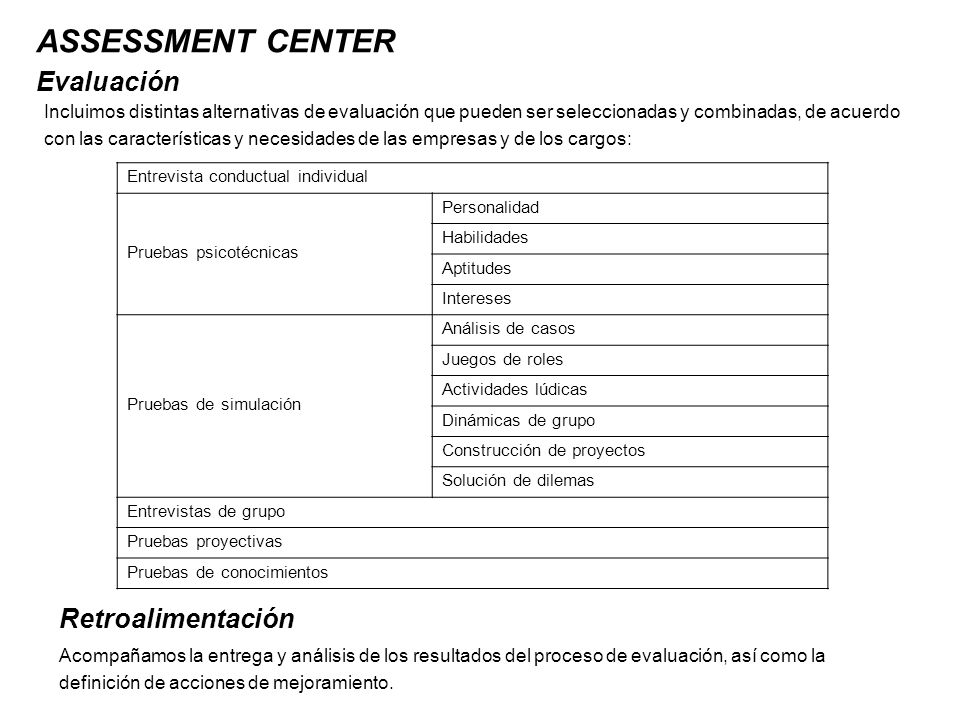 ASSESSMENT CENTER Evaluación Retroalimentación