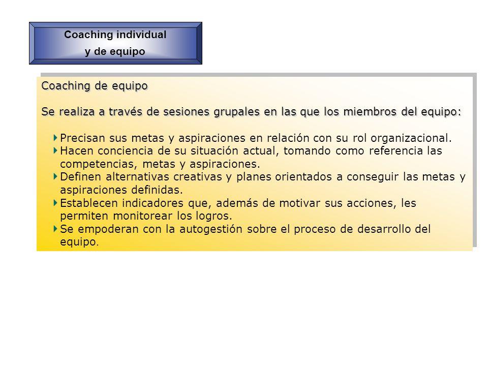 Coaching individual y de equipo. Coaching de equipo. Se realiza a través de sesiones grupales en las que los miembros del equipo: