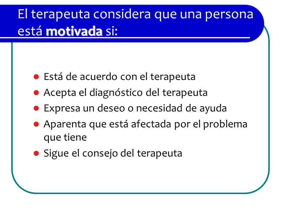 El terapeuta considera que una persona está motivada si: